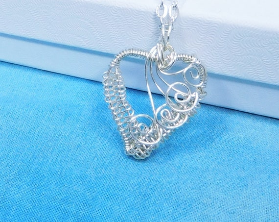 Woven Wire Wrapped Heart Pendant, Unique Artisan Crafted Handmade Necklace, Romantic Anniversary Gift for Wife, Girlfriend, Sweetheart
