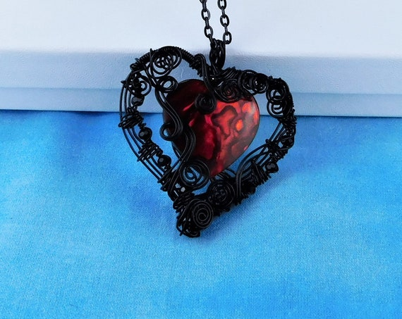 Romantic Heart Necklace, Unique Woven Wire Wrapped Pendant, Artisan Crafted Artistic Jewelry, Handmade Wearable Art Present Ideas for Women