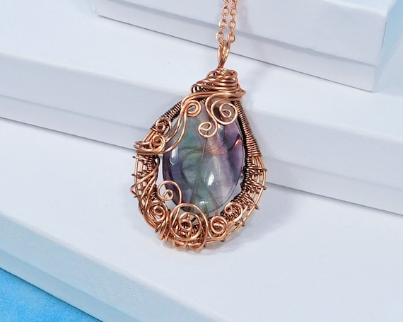 Wire Wrapped Fluorite Pendant, Artisan Crafted Woven Copper Necklace 7th Anniversary Gift for Wife, One of a Kind Gemstone Jewelry for Gift