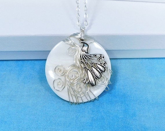 Artistic Peacock Necklace, Unique Wire Wrapped Mother of Pearl Shell Pendant, Handcrafted Wearable Art Jewelry Present Ideas for Women