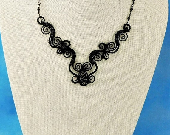Black Statement Necklace Quality Crystals, Unique Wire Wrapped and Sculpted Jewelry, Artistic Handmade Wearable Art Present Idea for Women