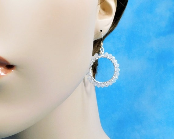 White Crystal Hoop Earrings, Unique Wire Wrapped Artistic Jewelry, Handmade Mother's Day Present for Mom, Wife, or Mother in Law Gift