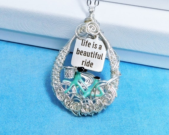 Unique Cyclist Necklace Bicycle Jewelry, Artistic Woven Wire Wrapped Life is a Beautiful Ride Pendant Birthday Present or Anniversary Gift