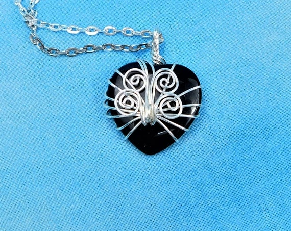 Artistic Handmade Black Onyx Necklace Gemstone Heart Pendant, Unique Wire Wrapped Stone Jewelry, Artisan Crafted One of a Kind Wearable Art
