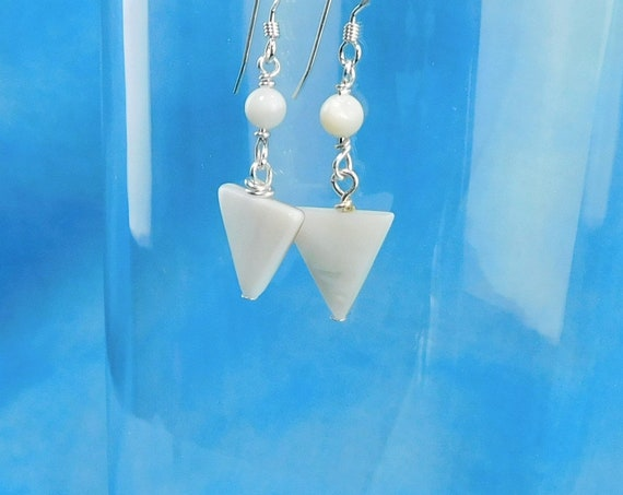 Small Natural White Mother of Pearl  Earrings, Unique triangle Shaped Dangles, Wearable Art Jewelry for Mother's Day Gift Ideas for Wife Mom