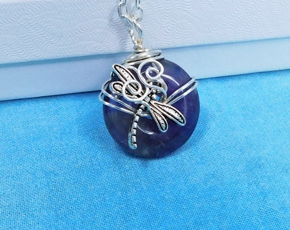 Wire Wrapped Amethyst Pendant, February Birthstone Necklace, Memorial Jewelry for Bereavement Present, Dragonfly Necklace Sympathy Gift