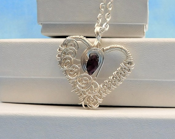 Garnet Necklace Heart Shaped Pendant January Birthstone Unique Wire Wrapped  Artistic Handmade Wearable Art Jewelry Present Ideas for Women