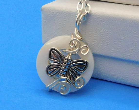 Unique Wire Wrapped Butterfly Pendant, Artisan Crafted Necklace with Butterflies, Artistic Handmade Wearable Art Jewelry, Present Ideas