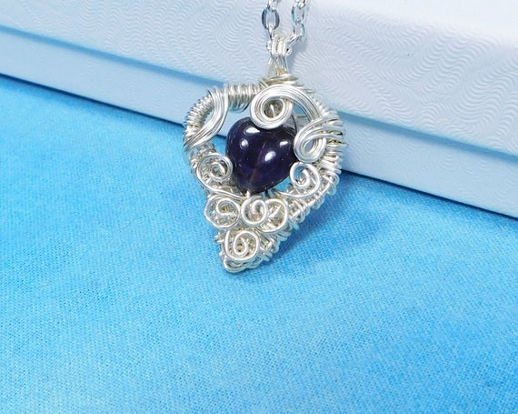 Wire Wrapped Amethyst Pendant, Artistic February Birthstone Necklace, Unique Gemstone Heart Jewelry Wearable Art Birthday Gift