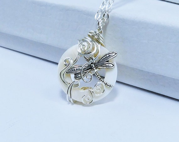 Unique Wire Wrapped Dragonfly Necklace, Artistic Handmade Wearable Art Jewelry, Artisan Crafted Pendant Birthday Present Ideas for Women