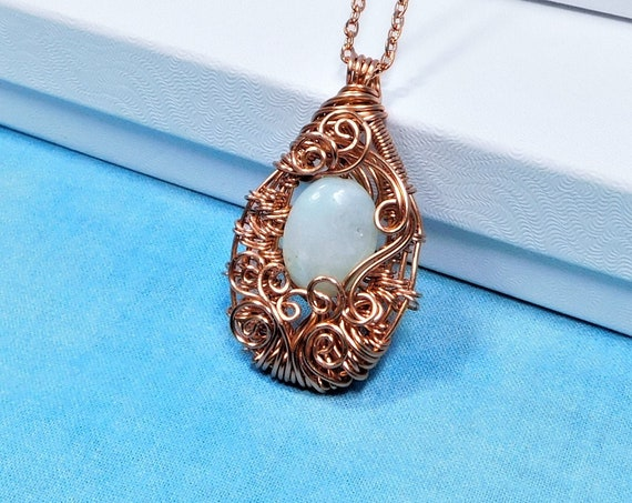 Wire Wrapped Aquamarine Pendant, March Birthstone Necklace, Unique Artisan Crafted Woven Rose Gold Colored Copper and Gemstone Jewelry