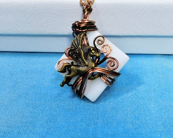 Unique Copper Wire Wrapped Pegasus Pendant Winged Horse Necklace, Fantasy Jewelry Mythology Theme Birthday or Graduation Present for Women
