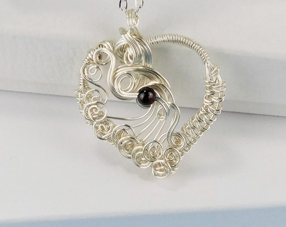Wire Wrapped Garnet Pendant, Artisan Crafted Gemstone Heart Birthstone Necklace, Unique Wearable Art Jewelry January Birthday Present Ideas