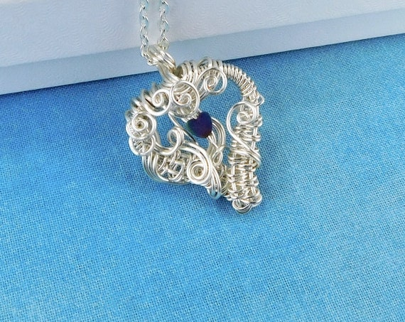 Woven Wire Wrapped Hematite Heart Necklace, Artistic Gemstone Heart Pendant, Wearable Art Jewelry Anniversary Gift for Wife or Girlfriend