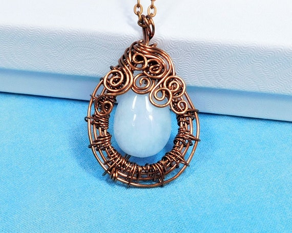 Wire Wrapped Aquamarine Pendant, March Birthstone Necklace, Unique Artisan Crafted Woven Copper and Gemstone Jewelry 7th Anniversary Gift