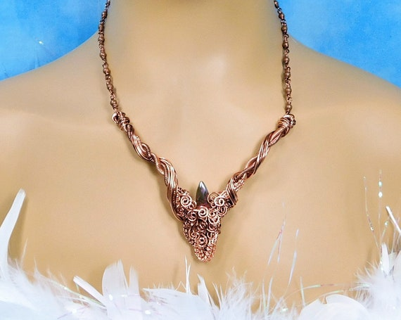 Woven Copper Bib Necklace, Wire Wrapped Statement Jewelry, Artistic One of a Kind Rustic Copper Jewelry for Women