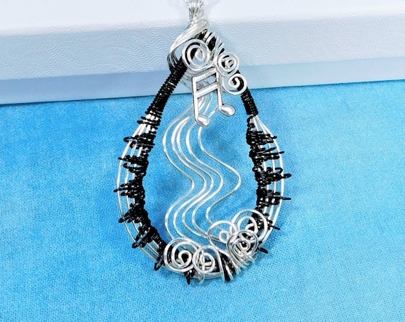 Wire Wrapped Music Note Necklace, Artisan Crafted Musician Pendant, Artistic Musical Theme Wearable Art Jewelry for Music Teacher Present