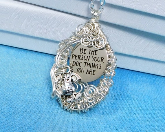 Dog Lover Necklace Animal Jewelry Pet Theme Present for Women, Woven Wire Wrapped Artistic Puppy Dog Pendant Birthday Gift for Wife or Mom