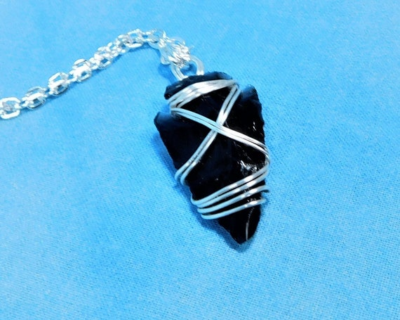Wire Wrapped Black Obsidian Arrowhead Necklace, Artisan Crafted Handmade Wearable Art Pendant, Artistic Jewelry Present for Men or Women