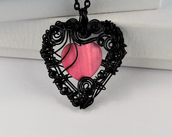 Romantic Black Heart Pendant, Unique Woven Wire Wrapped Artistic Mother of Pearl Heart Necklace, Wearable Art Jewelry Gift for Women