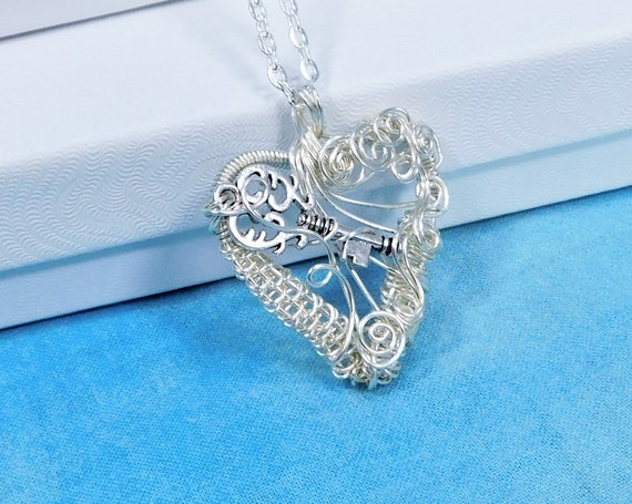 Wire Wrapped Skeleton Key Necklace, Artistic Woven Wire Heart Pendant, Wearable Art Key to my Heart Jewelry Birthday or Anniversary Present