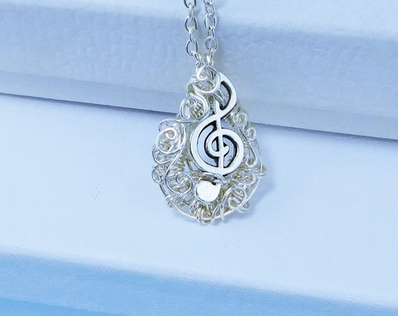 Small Treble Clef Necklace Music Teacher Gift, Musical Pendant Musician Jewelry, Unique Present for Women, Wife, Mom or Mother in Law Gift