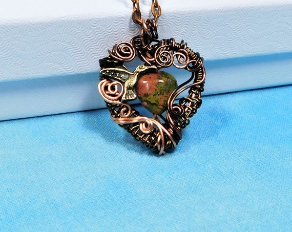 Wire Wrapped Heart Shaped Unakite Pendant, Gemstone Heart Necklace with Hummingbird, Anniversary Present for Wife, Wearable Art Jewelry Gift