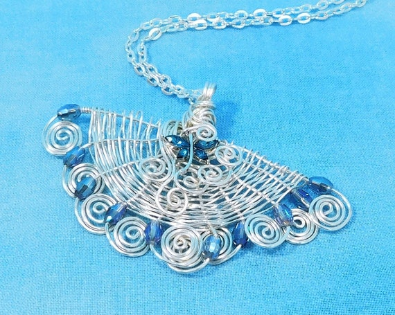Woven Wire Fan Necklace with Blue Chinese Crystals, Dragonfly Pendant Necklace for Anniversary Gift for Wife, Memorial or Sympathy Gift