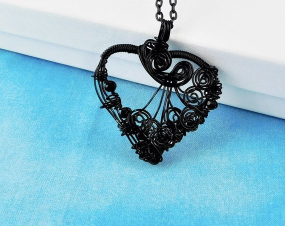 Artistic Black Heart Necklace, Artisan Crafted Unique Woven Wire Wrapped Pendant, Handcrafted Wearable Art Jewelry Present for Women