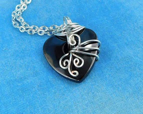 Artistic Handmade Hematite Necklace Gemstone Heart Pendant, Unique Wire Wrapped Stone Jewelry, Artisan Crafted One of a Kind Wearable Art