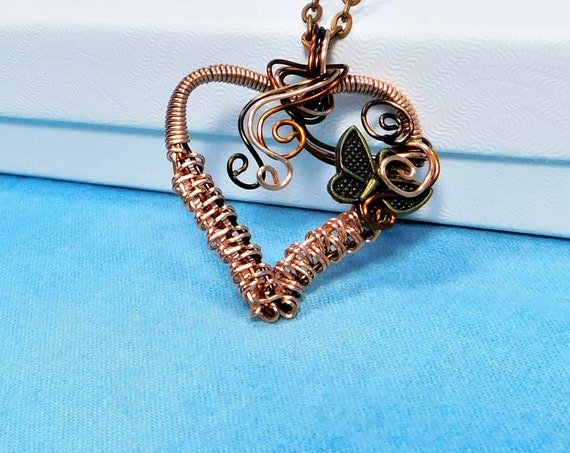 Woven Wire Butterfly Pendant Sympathy Gift Necklace, Artisan Crafted Rustic Copper Heart Pendant, Memorial Jewelry for Bereavement Present