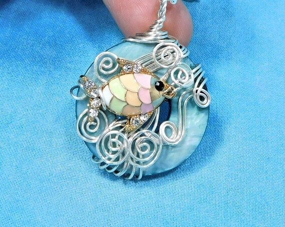 Colorful Swimming Fish Statement Pendant, Fun Artistic Beach Jewelry, Unique Wire Wrapped Whimsical Ocean Theme Wearable Art Necklace Gift