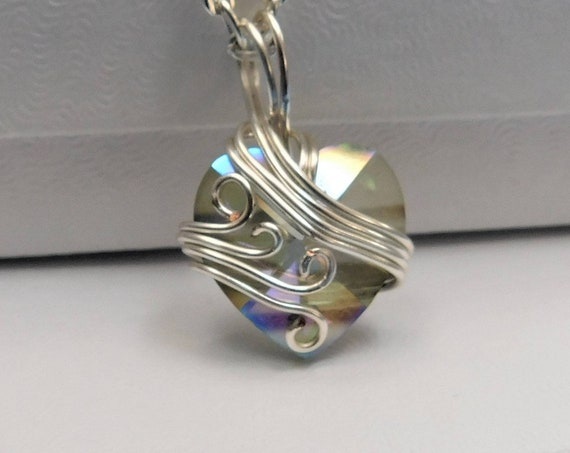 Wire Wrapped Heart Pendant Unique Artisan Crafted Crystal Necklace Artistic Handmade Jewelry Birthday Anniversary Present Ideas for Women