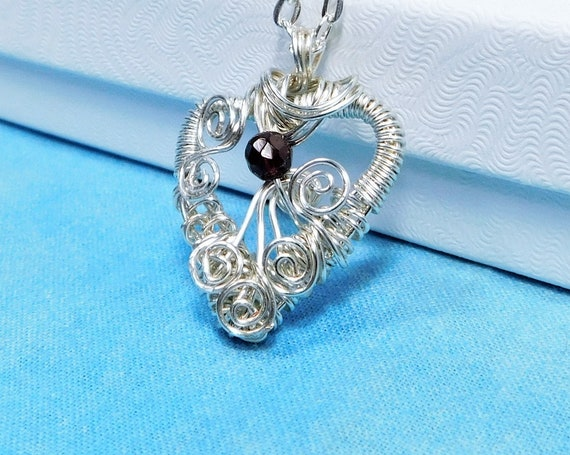 Artistic Garnet Pendant, Artisan Crafted Heart Shaped January Birthstone Necklace, Wire Wrapped Gemstone Jewelry Birthday Present