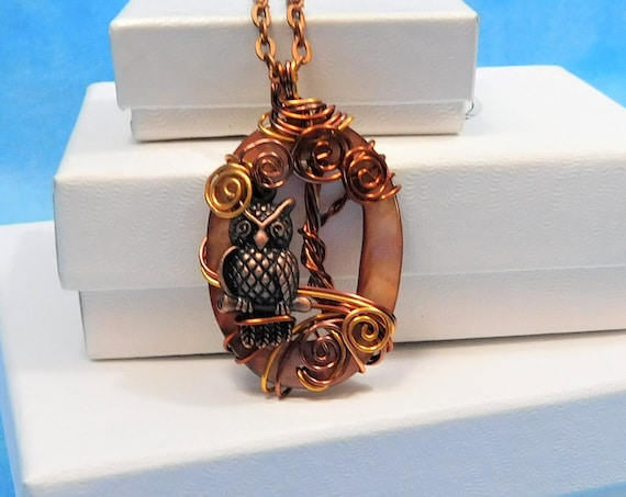 Artisan Crafted Owl Necklace, Unique Copper Wire Wrapped Sculpted Owl in Tree Pendant, Artistic Handmade Wearable Art Jewelry, Present Ideas