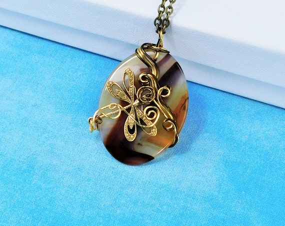 Artistic Copper Wire Wrapped Carnelian Necklace, Unique Artisan Crafted Handmade Gemstone Pendant, Wearable Art Jewelry Present for Women