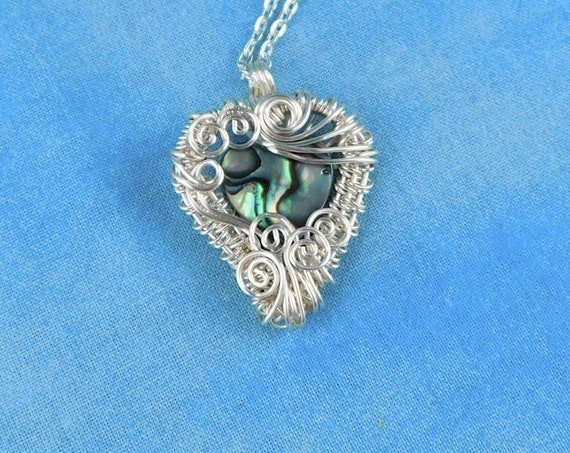 Handmade Artistic Heart Pendant, Unique Woven Wire Wrapped Romantic Necklace, Artisan Crafted Wearable Art Jewelry Present Ideas for Women