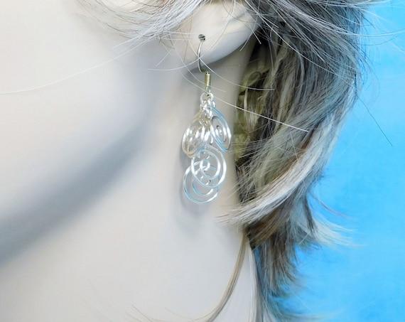 Sculpted Wire Swirl Cluster Earrings, Wearable Art Jewelry, Artistic Nickle Free Silver Dangle Earrings for Pierced Ears, Present for Women