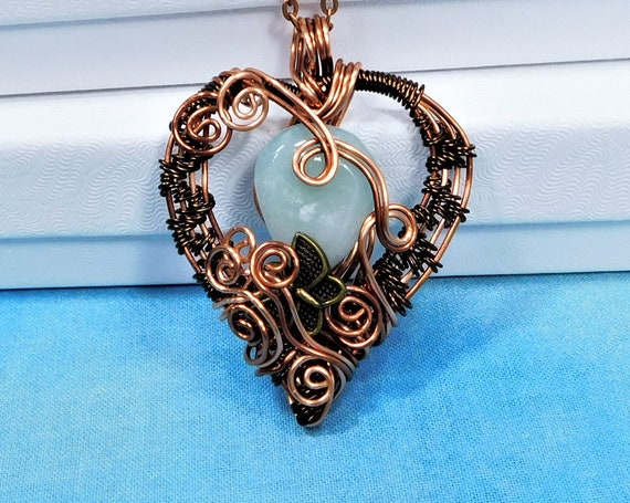 Woven Copper Wire Heart and Butterfly Jade Pendant Sympathy Gift Necklace, Memorial Jewelry for Bereavement Present, Gemstone Necklace Gift