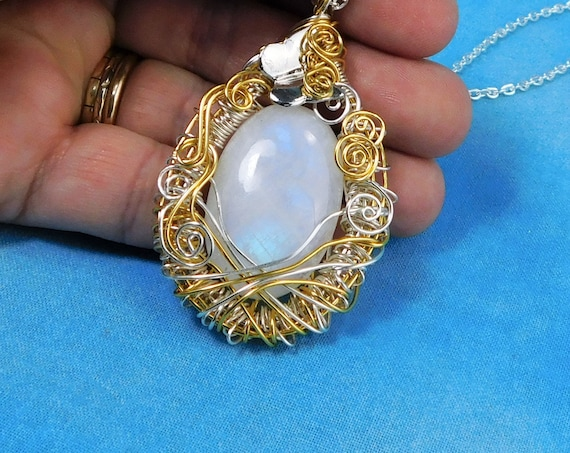 Artistic Rainbow Moonstone Pendant, Artisan Crafted Unique Wire Wrapped Gemstone Necklace, Wearable Art Jewelry Birthday Present for Women