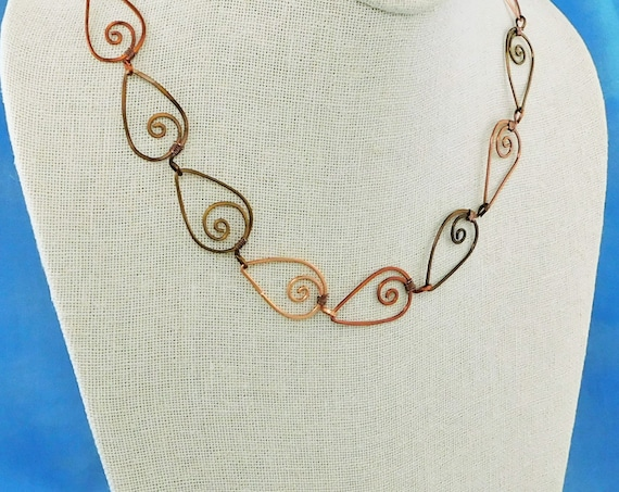 Artistic Sculpted Copper Necklace Gift, Unique Wire Wrapped Jewelry for 7th Anniversary Present Idea for Wife, Rustic Boho Statement Jewelry