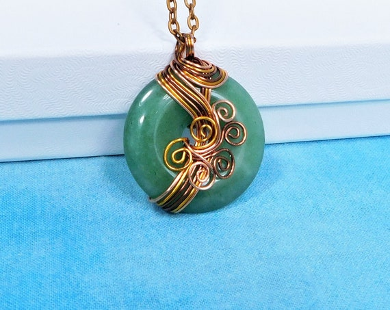 Wire Wrapped Green Aventurine Pendant, Artisan Crafted Rustic Copper Wrapped Gemstone Jewelry, Unique Handmade Wearable Art Necklace