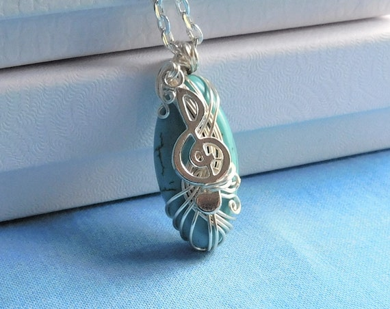 Treble Clef Pendant, Music Lover Necklace, Music Teacher Gift Ideas, Musical Staff Jewelry, Artistic Handmade Wearable Art for Musician