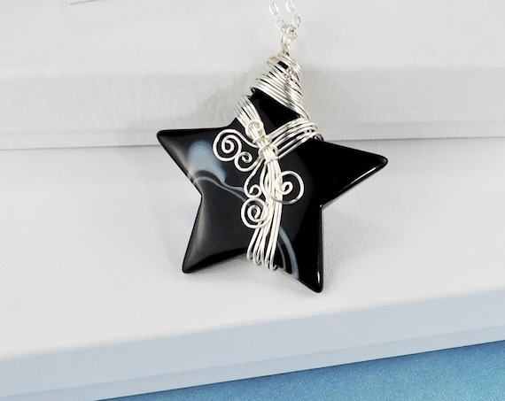 Artisan Crafted Black Onyx Necklace, Gemstone Star Pendant, Unique Wire Wrapped Stone Jewelry, Artistic Handmade One of a Kind Wearable Art