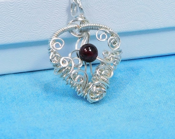Artistic Garnet Pendant, Artisan Crafted Heart Shaped January Birthstone Necklace, Wire Wrapped Gemstone Jewelry