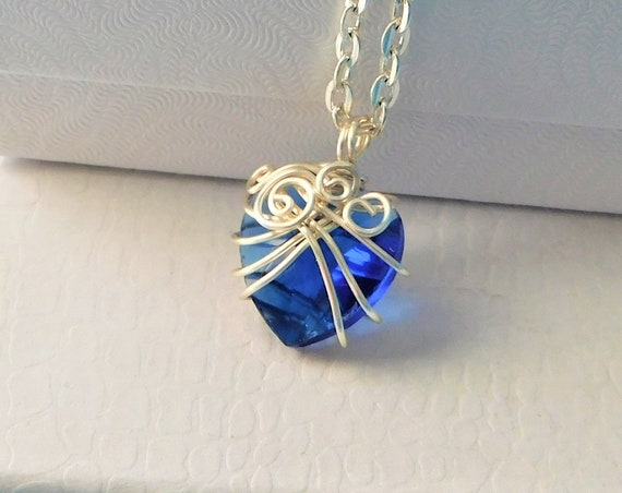 Wire Wrapped Blue Heart Necklace, Unique Artisan Crafted Jewelry, Artistic Blue Crystal Pendant, Handmade Wearable Art, Sweetheart Present