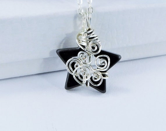 Wire Wrapped Hematite Star Pendant, Artistic Handmade Jewelry, Unique Gemstone Pendant, One of a Kind Artisan Crafted Wearable Art Present