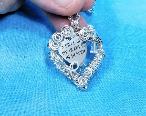 Artisan Crafted Remembrance Necklace Artistic Handmade Sympathy Gift, Unique Wire Wrap Wearable Art Heart Pendant Mother Memorial Jewelry