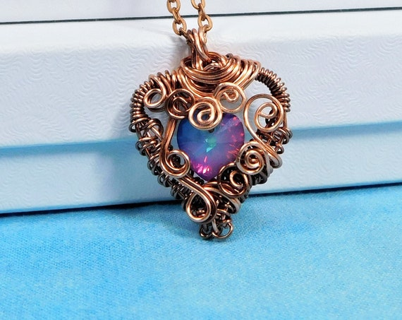 Artistic Blue Heart Necklace, Unique Artisan Crafted Woven Wire Wrapped Jewelry, Copper & Crystal Pendant Wearable Art Present for Women