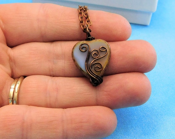 Rustic Copper Wire Wrapped Heart Necklace, Small Blue Heart Pendant, Jewelry Birthday Present or 7th Anniversary Gift for Wife or Girlfriend